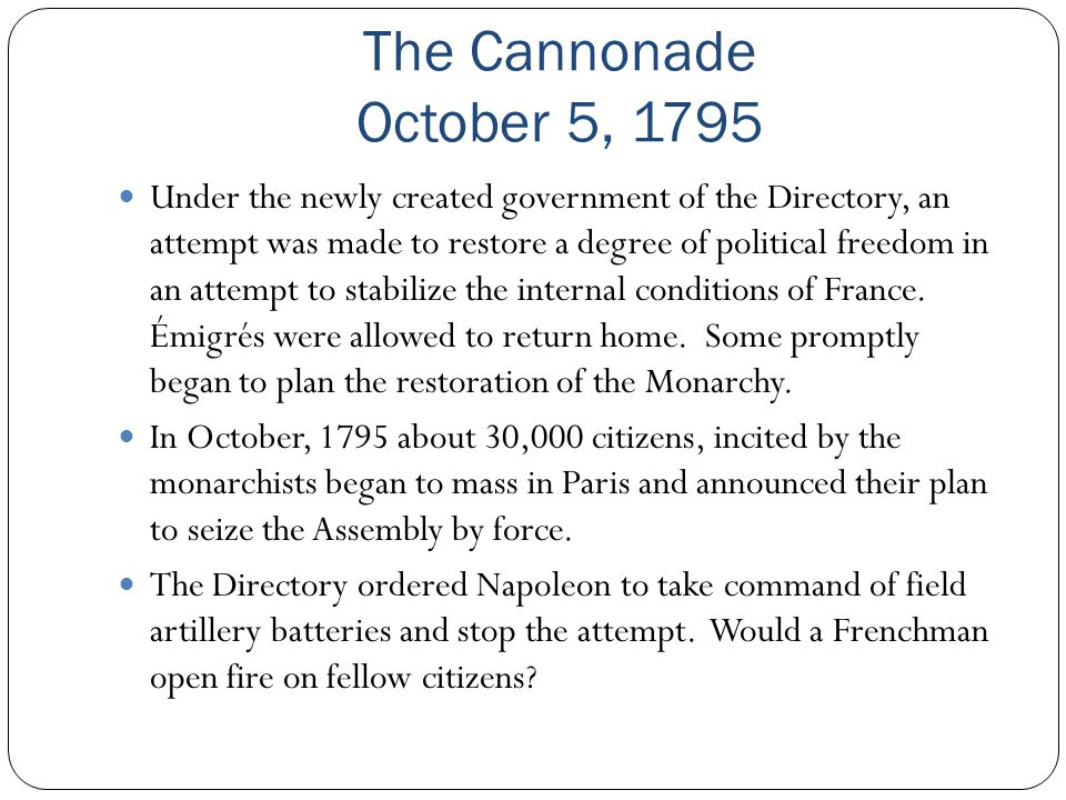 The Cannonade October 5, 1795