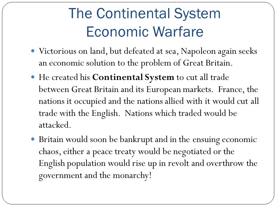 The Continental System Economic Warfare