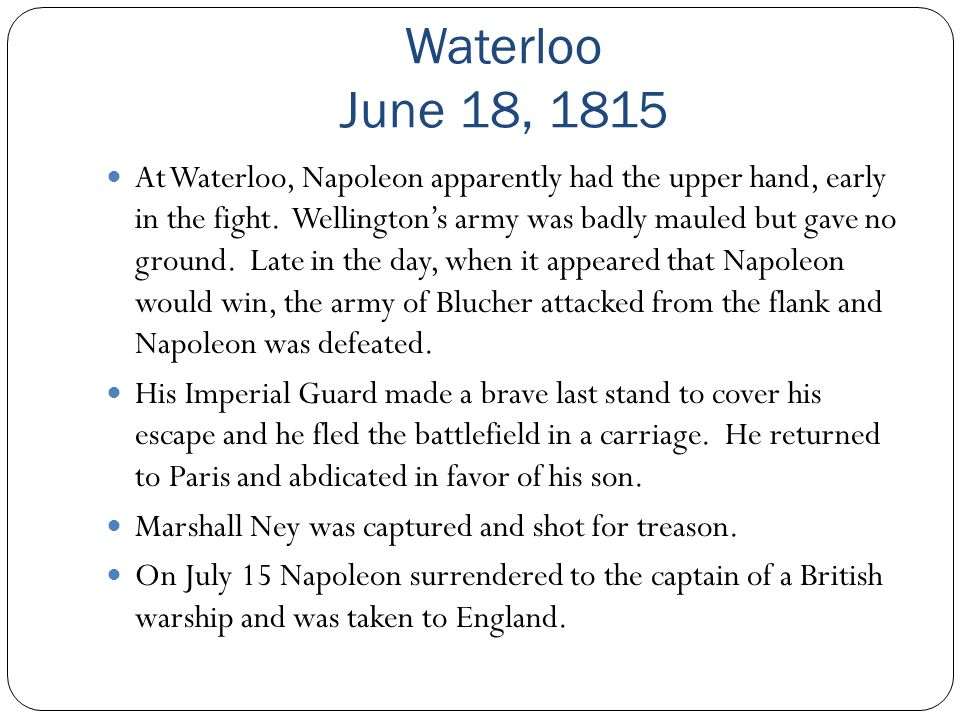 Waterloo June 18, 1815