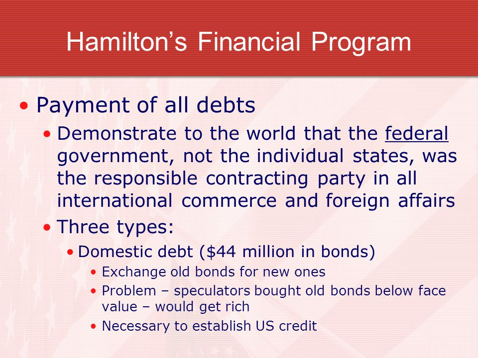 Hamilton's Financial Program