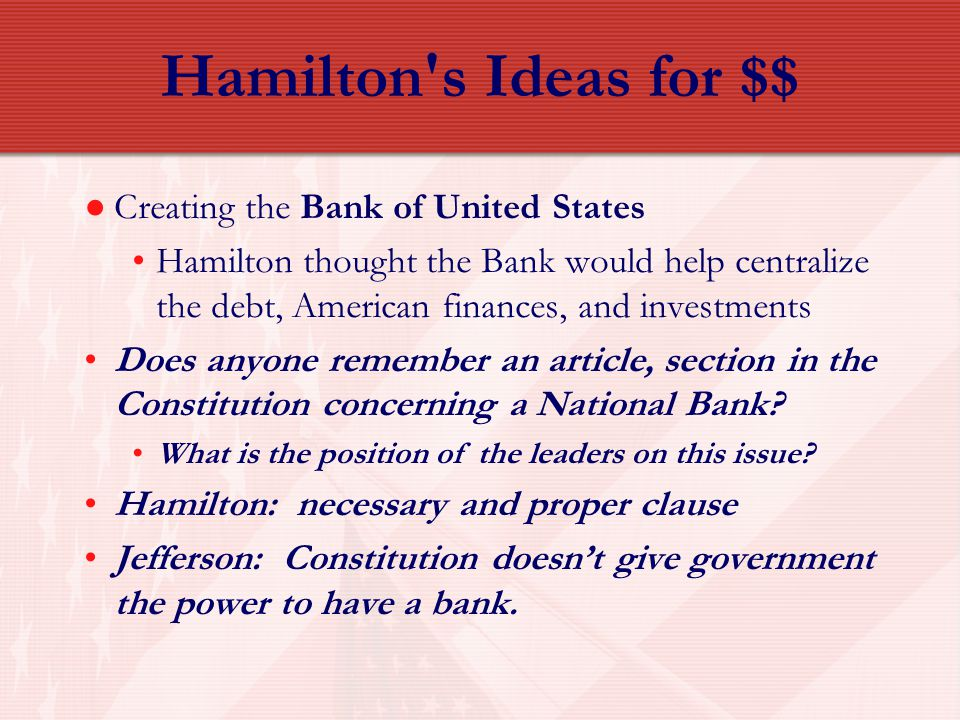 Hamilton s Ideas for $$ Creating the Bank of United States