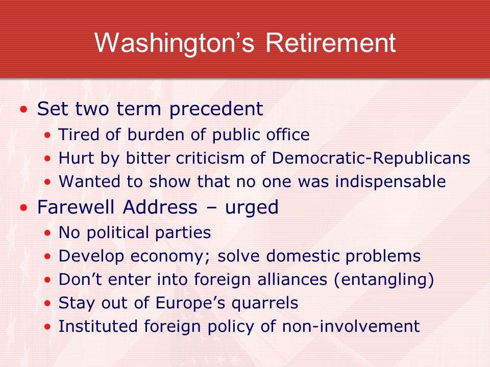 Washington's Retirement