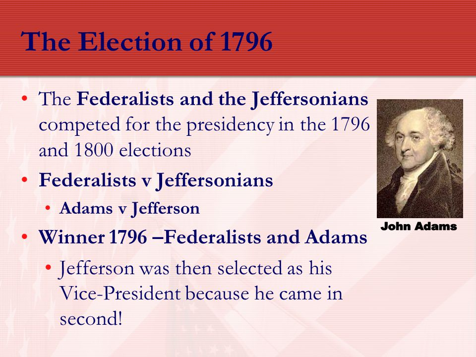 The Election of 1796 John Adams
