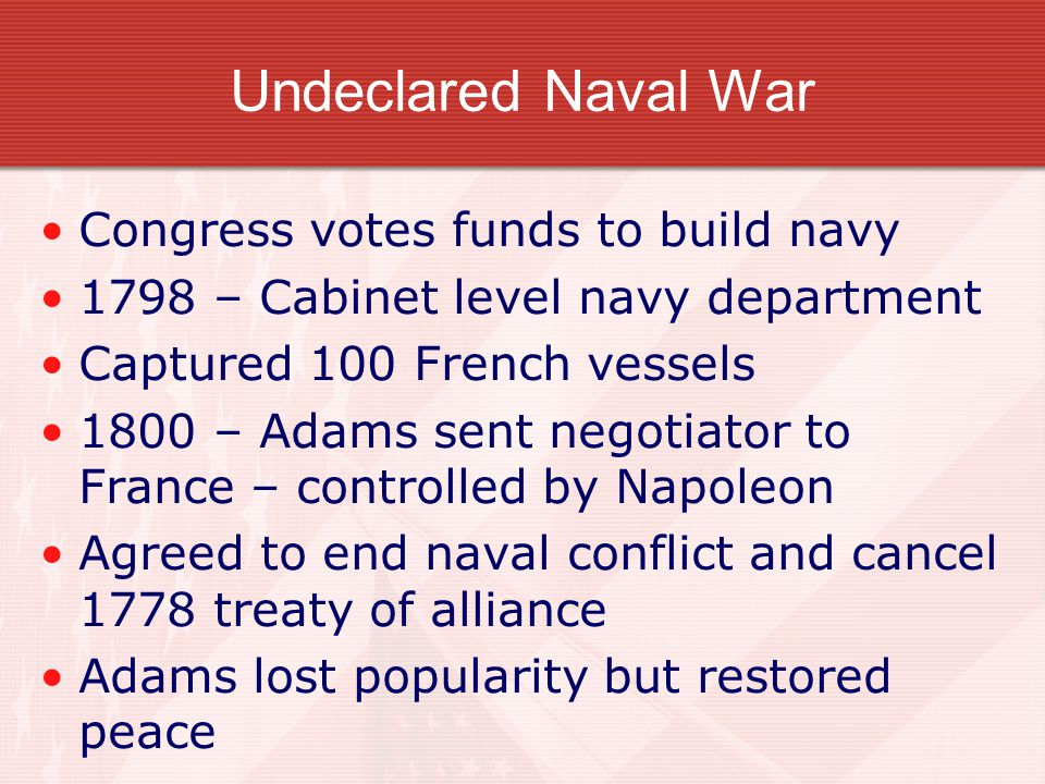 Undeclared Naval War Congress votes funds to build navy