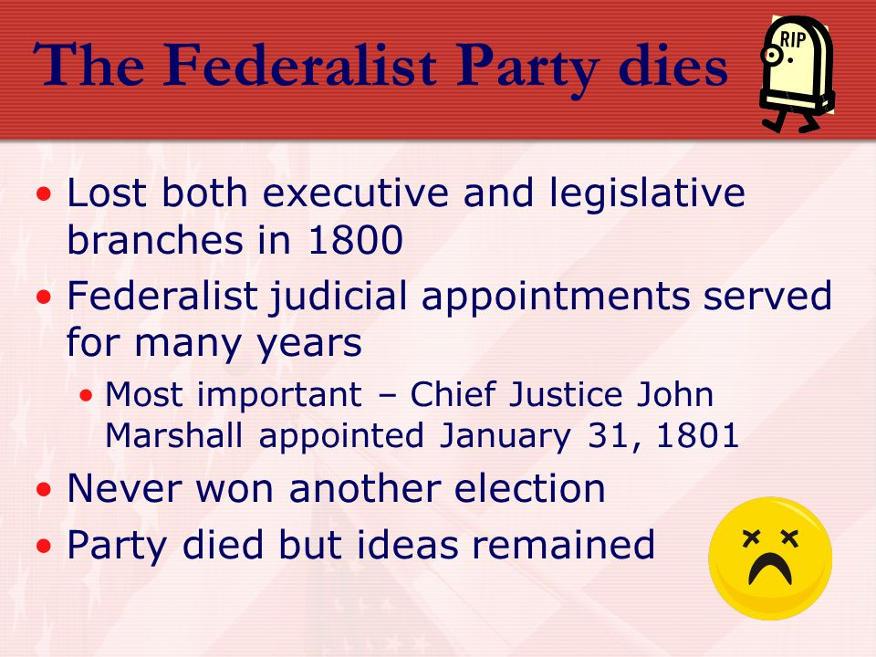 The Federalist Party dies