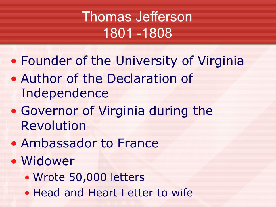 Thomas Jefferson 1801 -1808 Founder of the University of Virginia