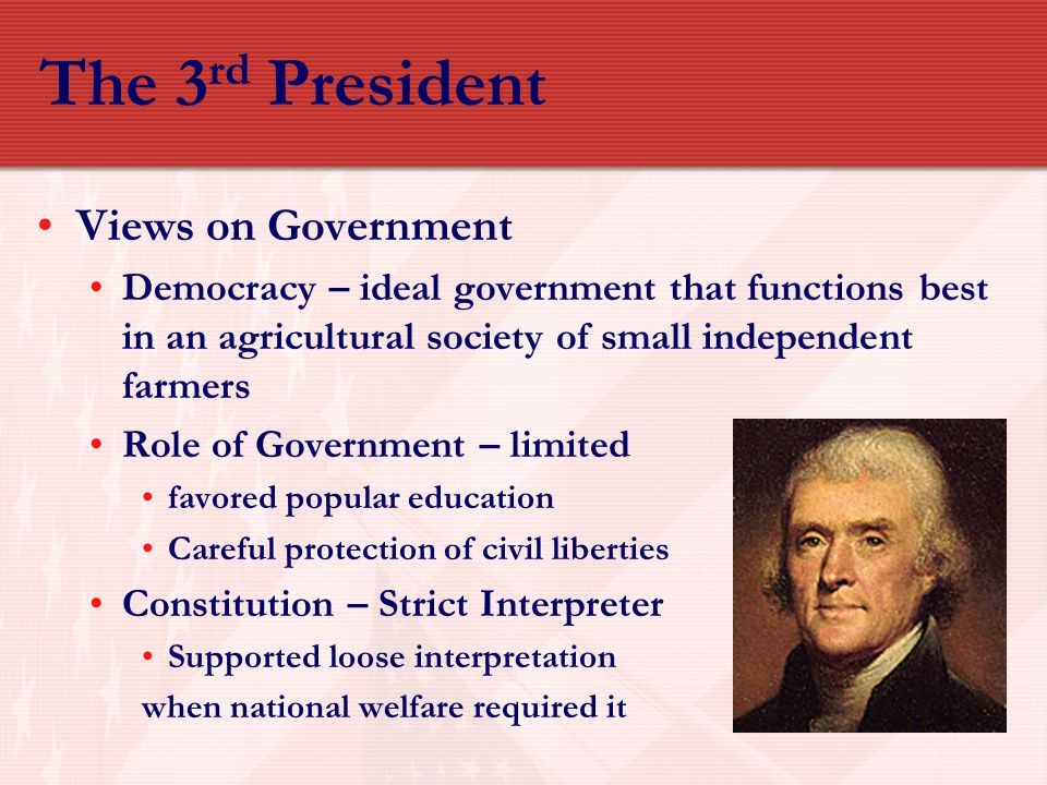 The 3rd President Views on Government