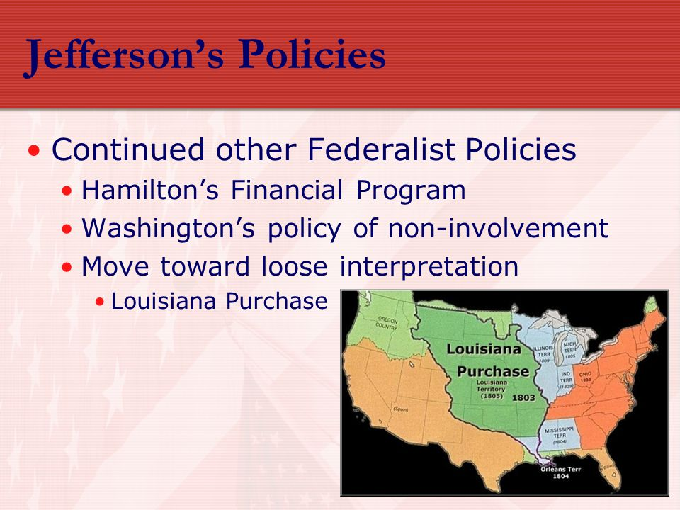 Jefferson's Policies Continued other Federalist Policies