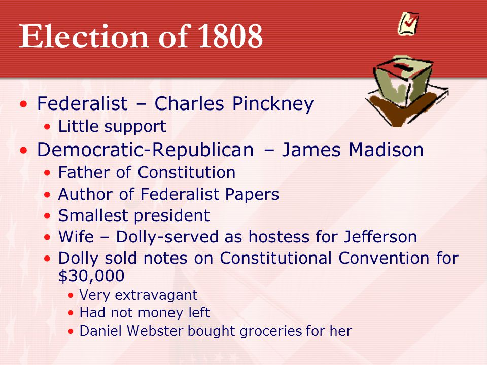 Election of 1808 Federalist – Charles Pinckney