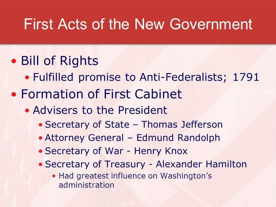 First Acts of the New Government