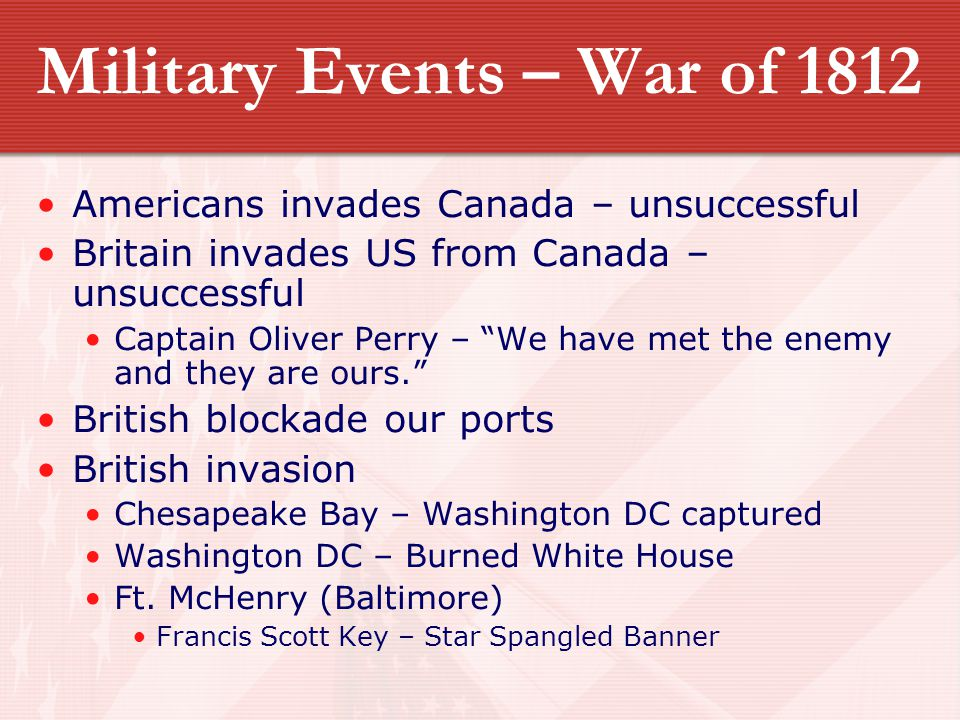 Military Events – War of 1812