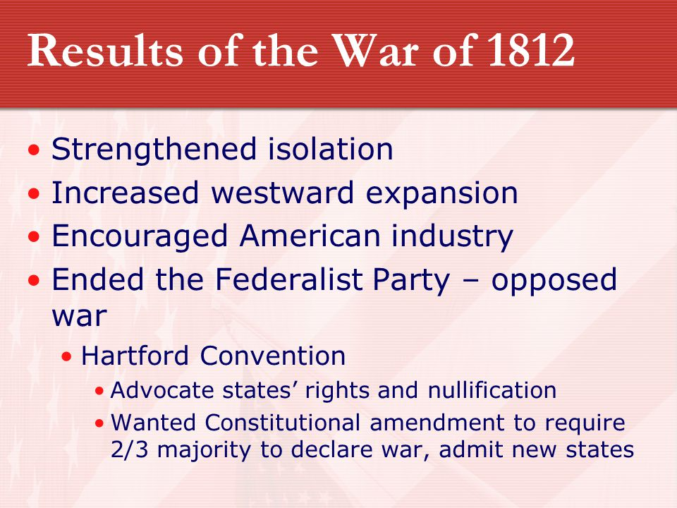 Results of the War of 1812 Strengthened isolation