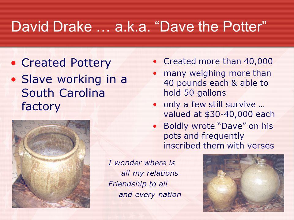 David Drake … a.k.a. Dave the Potter