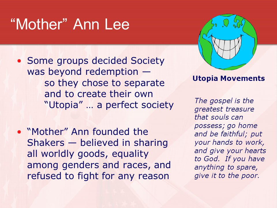 Mother Ann Lee Utopia Movements.