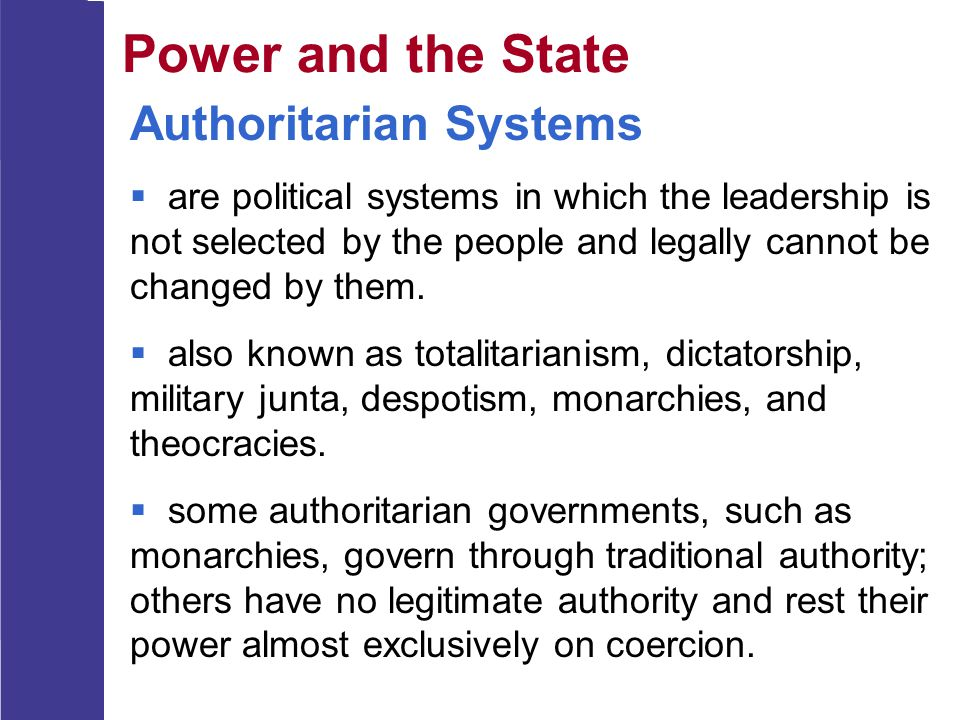 Power and the State Authoritarian Systems