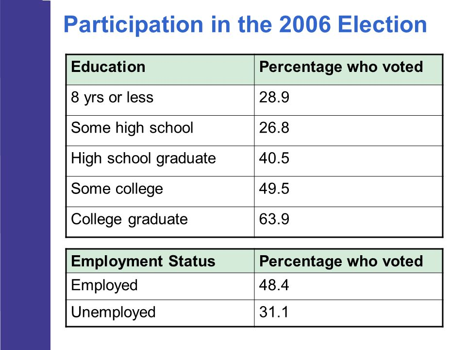 Participation in the 2006 Election