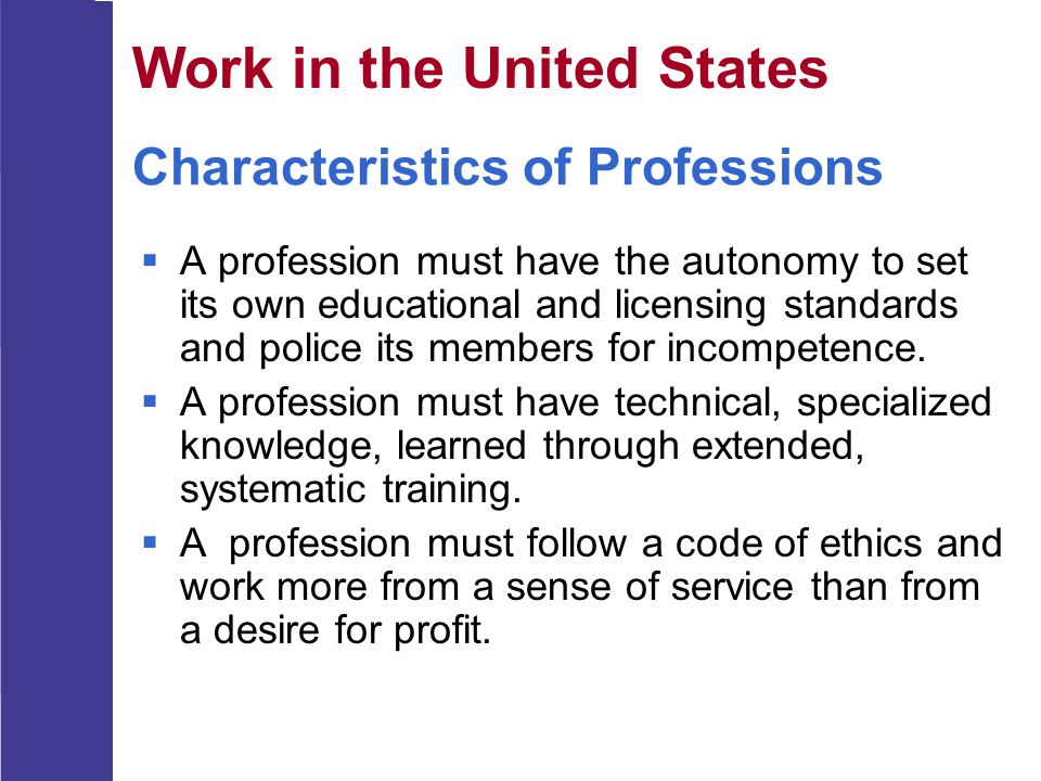 Characteristics of Professions