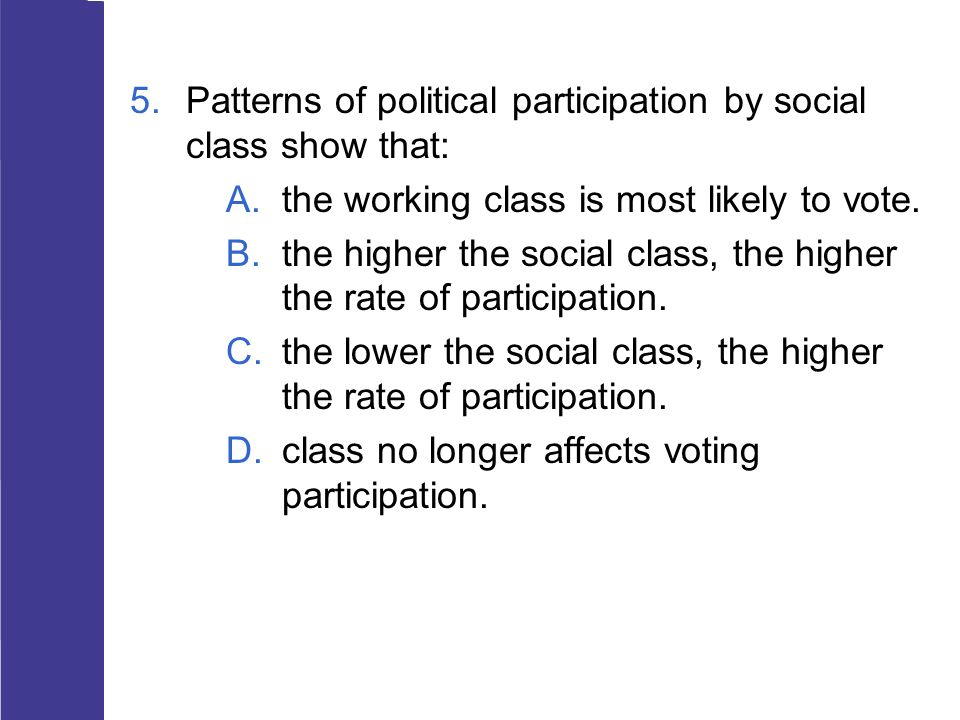 Patterns of political participation by social class show that: