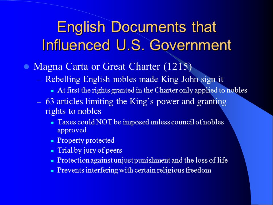 English Documents that Influenced U.S. Government