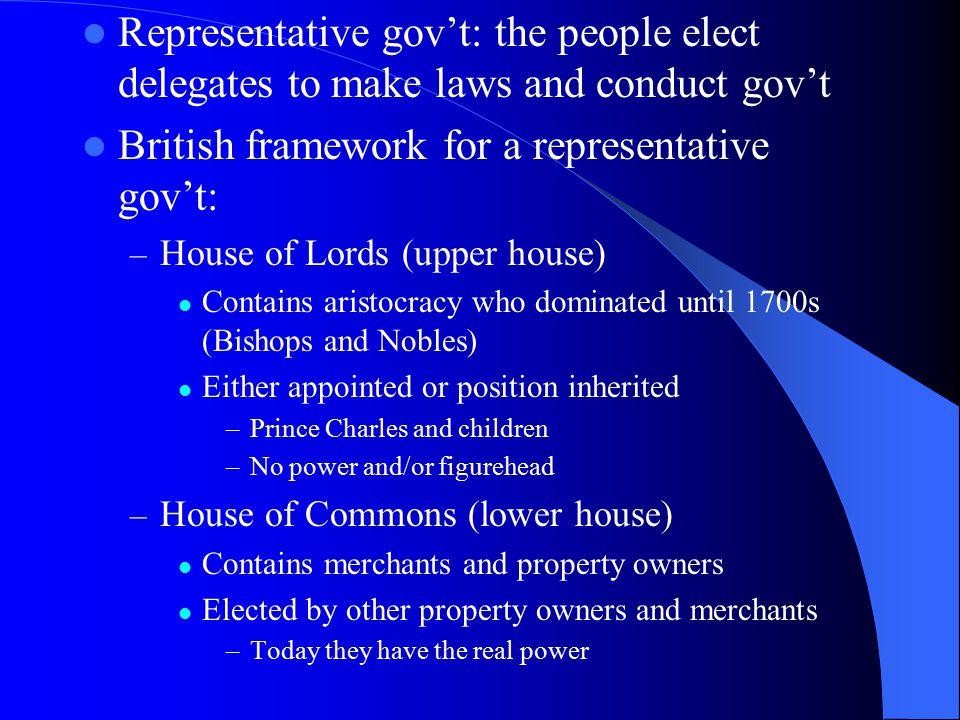 British framework for a representative gov't: