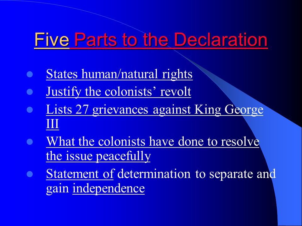 Five Parts to the Declaration