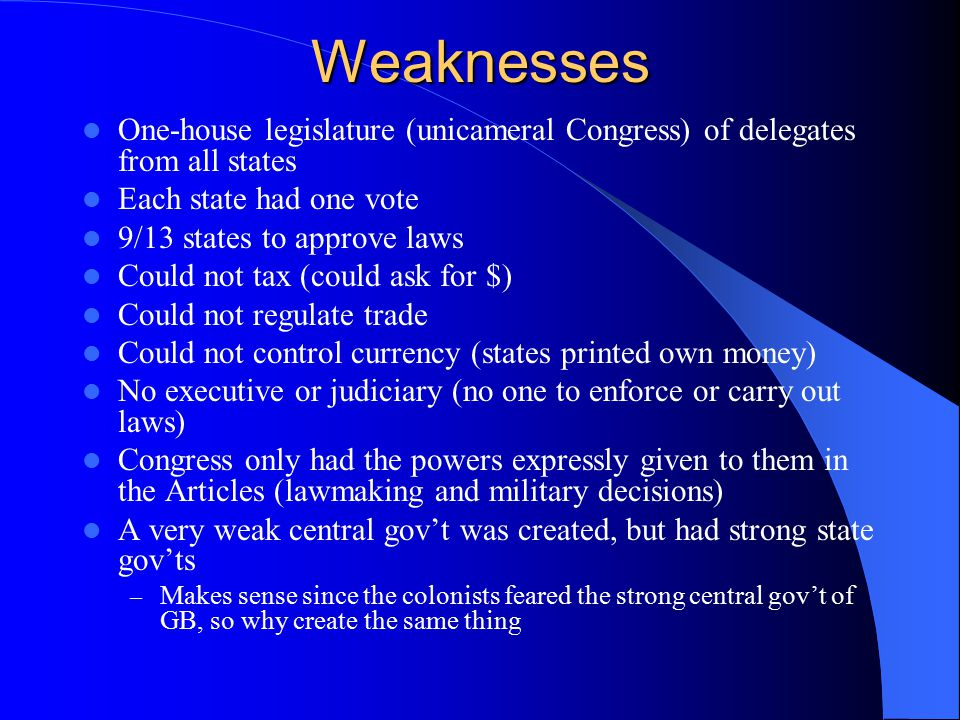 Weaknesses One-house legislature (unicameral Congress) of delegates from all states. Each state had one vote.