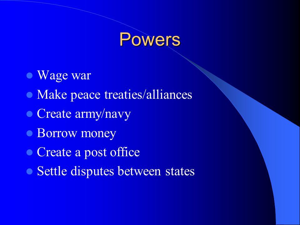 Powers Wage war Make peace treaties/alliances Create army/navy