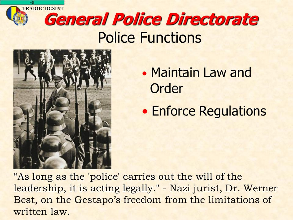 General Police Directorate Police Functions