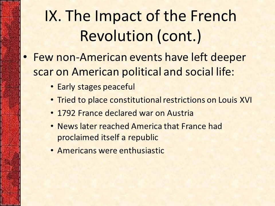 IX. The Impact of the French Revolution (cont.)