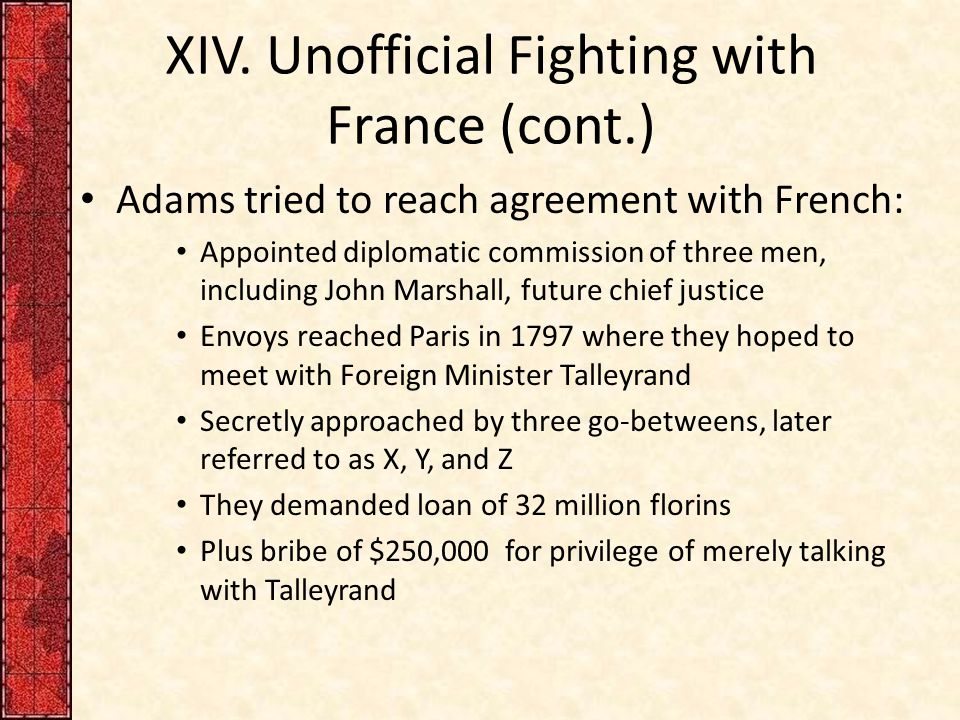 XIV. Unofficial Fighting with France (cont.)