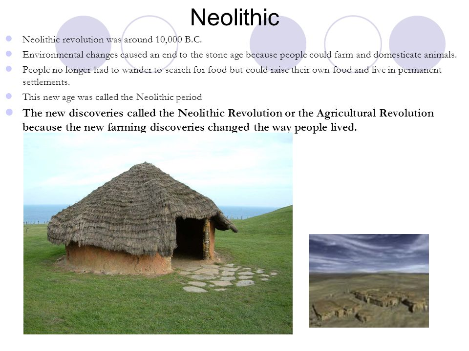 Neolithic Neolithic revolution was around 10,000 B.C.