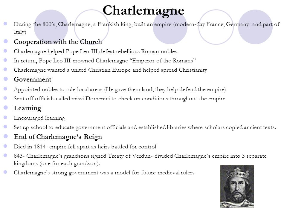 Charlemagne Cooperation with the Church Government Learning