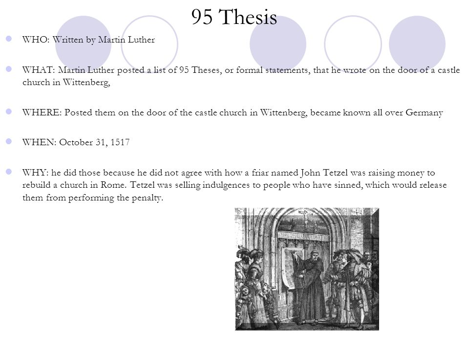 95 Thesis WHO: Written by Martin Luther