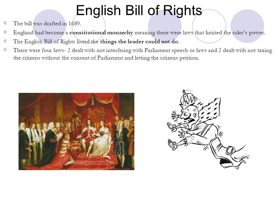 English Bill of Rights The bill was drafted in 1689.