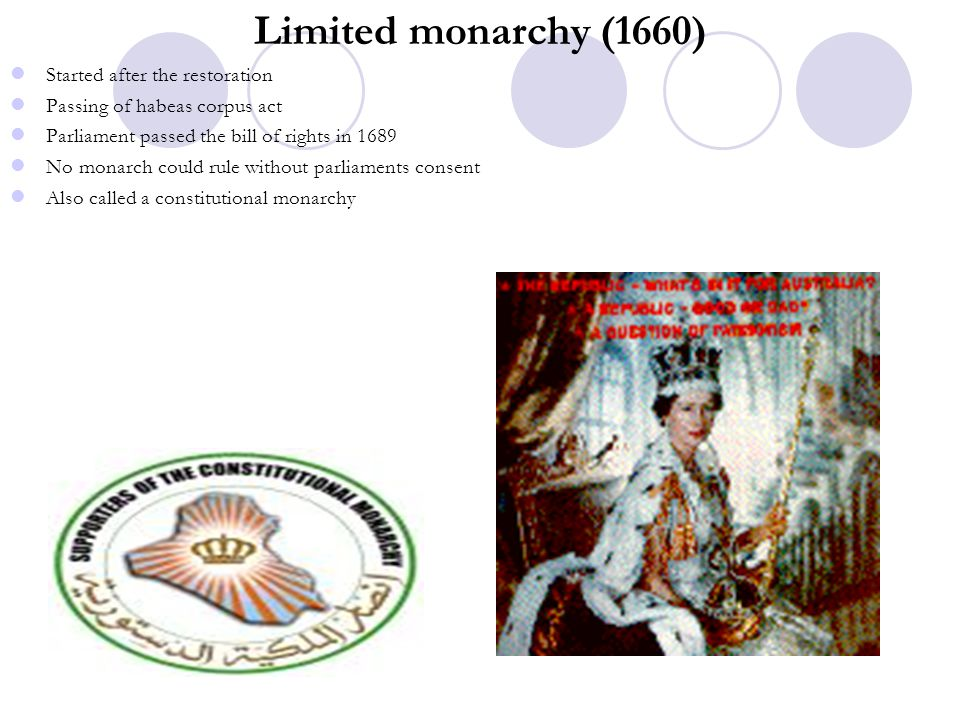 Limited monarchy (1660) Started after the restoration