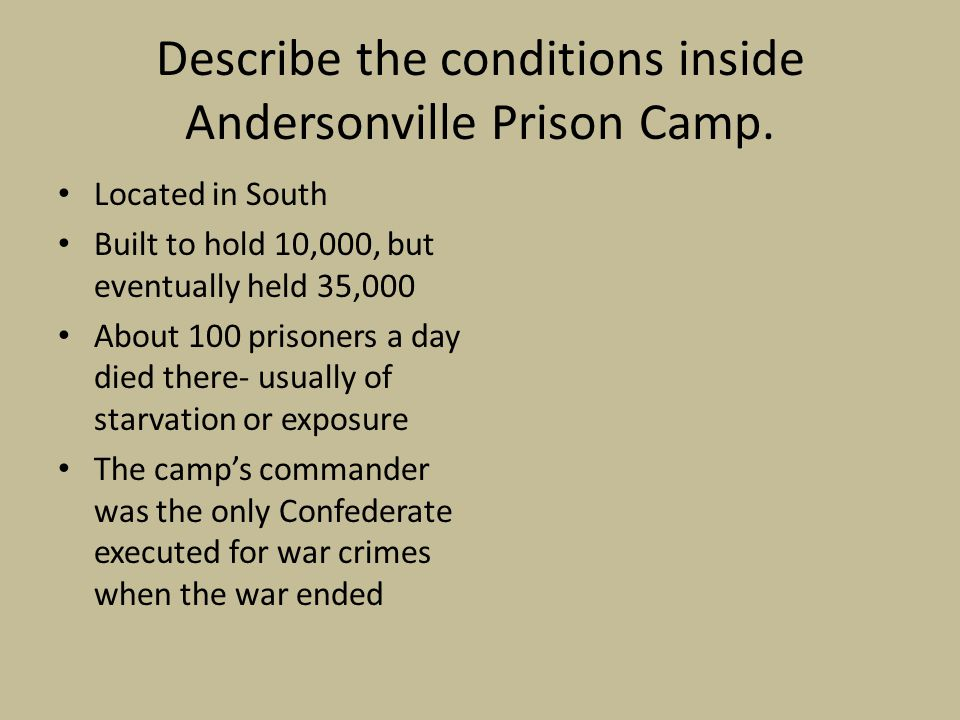 Describe the conditions inside Andersonville Prison Camp.