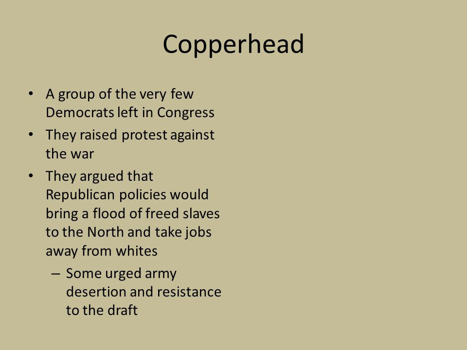 Copperhead A group of the very few Democrats left in Congress