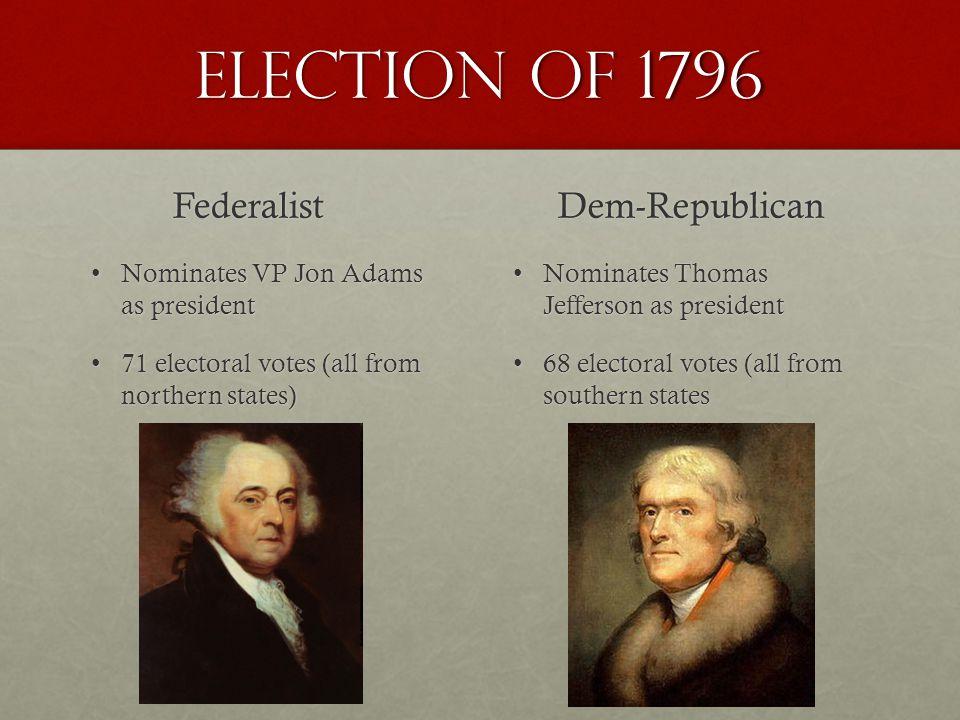 Election of 1796 Federalist Dem-Republican