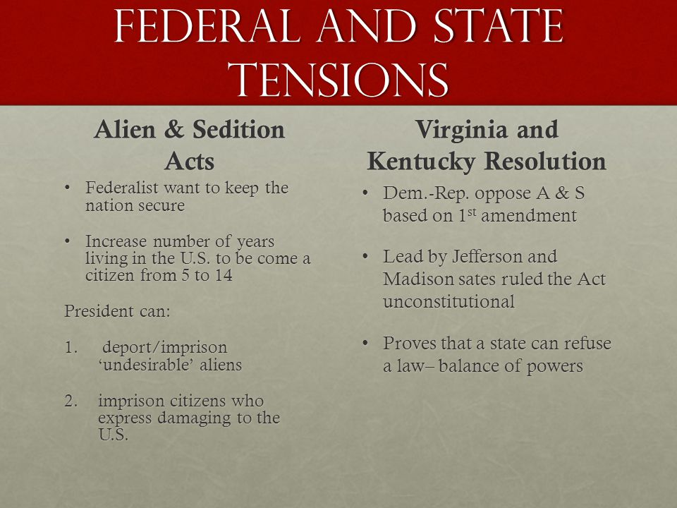 Federal and State tensions