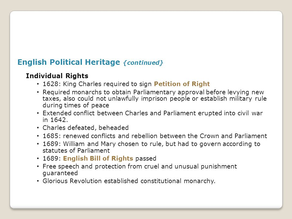 English Political Heritage {continued}