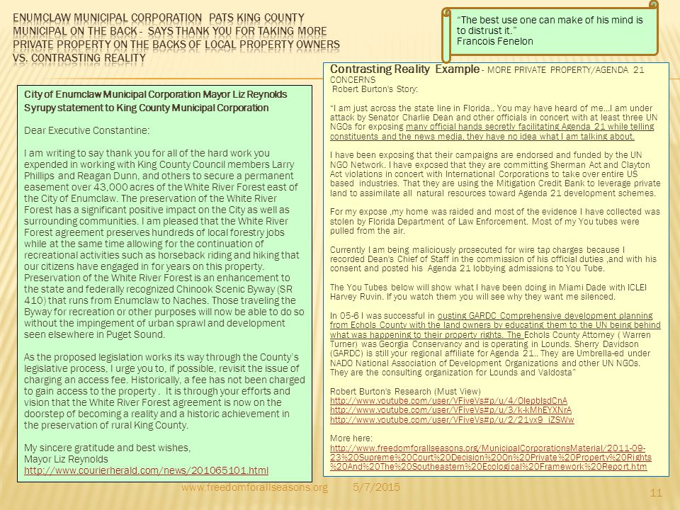 Contrasting Reality Example - MORE PRIVATE PROPERTY/AGENDA 21 CONCERNS