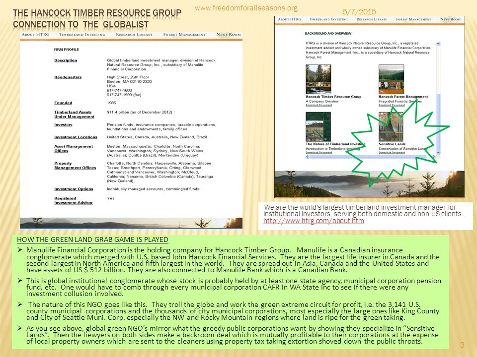 The Hancock timber resource group connection to the globalist