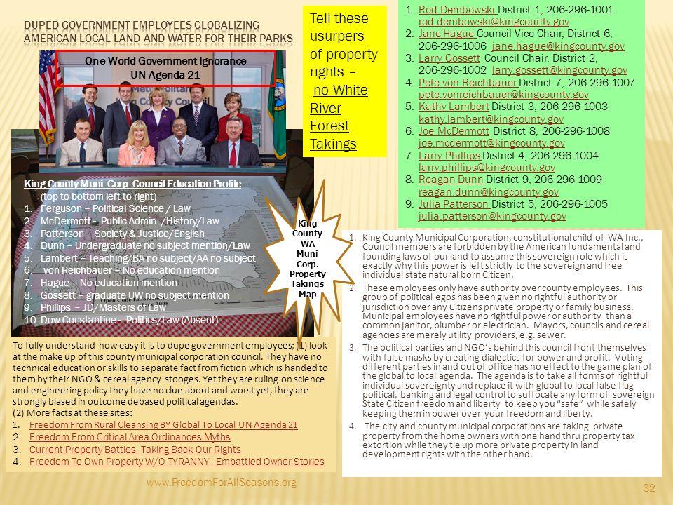 One World Government Ignorance King County WA Muni Corp.