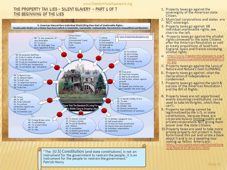 www.freedomforallseasons.org The property tax lies – silent slavery – part 1 of 7 the beginning of the lies.