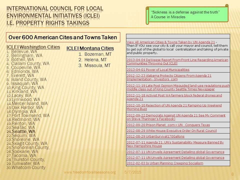 Over 600 American Cites and Towns Taken