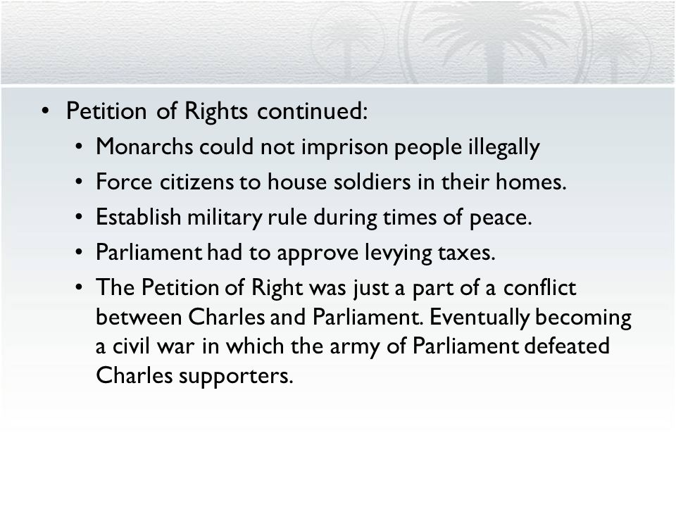 Petition of Rights continued:
