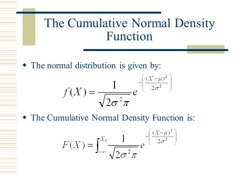 The Cumulative Normal Density Function