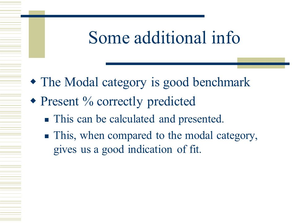 Some additional info The Modal category is good benchmark