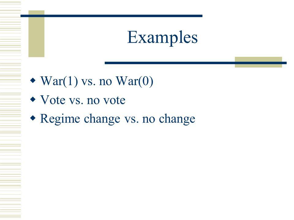Examples War(1) vs. no War(0) Vote vs. no vote