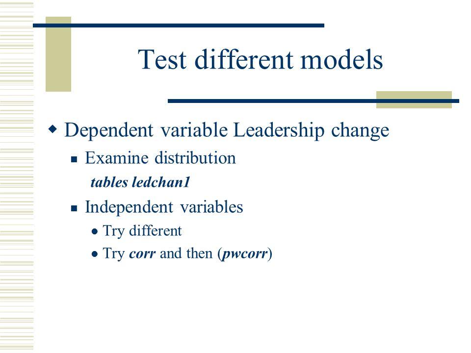 Test different models Dependent variable Leadership change